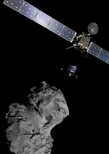 Rosetta und Philae Lander am Kometen 67P/Churyumov–Gerasimenko (Credit: ESA/ATG medialab; Comet image: ESA/Rosetta/Navcam -  released 10.11.2014)