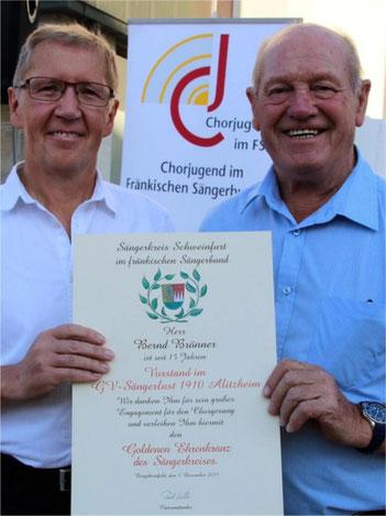 Goldener Ehrenkranz -Bernd Brönner GV Alitzheim -2019