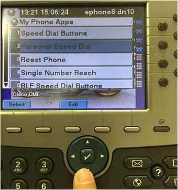 "Select ""Personal Speed Dial"" and Press ""Select"" Image"