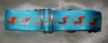Martingale, Halsband, 4cm, Gurtband eisblau, Borte mit Hunden