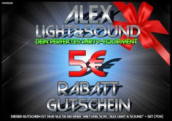 Alex Light and Sound Set Komplett Set Partyequipment Mieten Verleih 70 Euro Musikanlage Lichtanlage Mikrofon Nebelmaschine fünf Euro Rabatt Gutschein