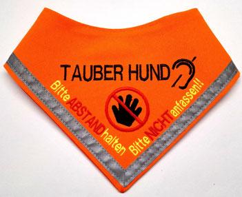 Tauber Hund, Halstuch, gehörlos, schwerhörig, Hundehalstuch bestickt