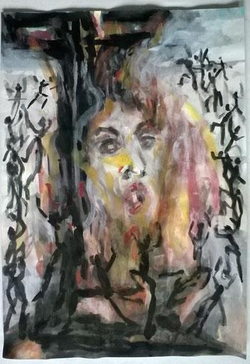 irre Augen - false eyes, 42x35 Mischtechnik/ painting 2018