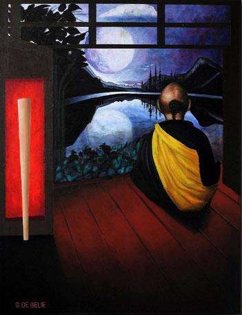 Sitting Monk    oil on canvas, 120cmx100cm.   Prijs 650 euro inc btw