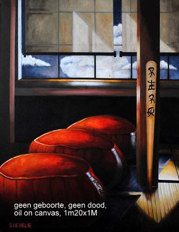 Zen zafu  , olieverf op canvas, 100cmx120cm.