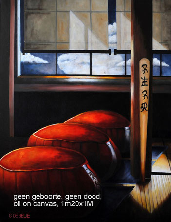 Zen zafu  , olieverf op canvas, 100cmx120cm.  Prijs 650 euro inc btw
