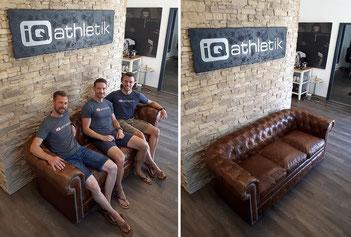 Auf die Plätze, fertig Couch! Diese neue Couch freut sich auf zahlreiche Besucherinnen und Besucher im Trainingsinstitut iQ athletik in Frankfurt