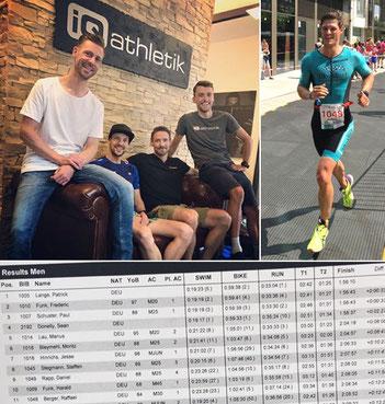 Auf der iQ athletik Couch: Sebastian Mühlenhoff, Andreas Wagner und Tobias Ohlenschläger von iQ athletik mit Triathlonprofi Patrick Lange (Sieger auf der olympischen Distanz). Auf der Laufstrecke beim Frankfurt City Triathlon: Raffael Berger.