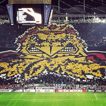 Choreo beim 4:1 Sieg von Eintracht Frankfurt gegen Lazio Rom in der Europa League