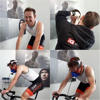 Der von iQ athletik trainierte Mountainbiker Sascha Starker bei der Leistungsdiagnostik