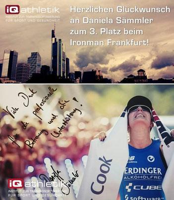 Die von iQ athletik unterstützten Triathletin Daniela Sämmler wird sensationelle Dritte beim Ironman Frankfurt