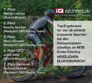 Top-Erfolge für von iQ athletik trainierte Sportler bei den MTB Hessenmeisterschaften im Cross Country