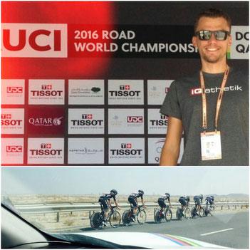 Tobias Ohlenschläger von iQ athletik ist als Directeur Sportif bei der Rad-WM im Einsatz für das Stradalli BikeAid Pro Cycling Team