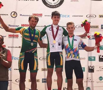 Till Drobisch gewinnt die Bronze-Medaille bei den afrikanischen Continental MTB-Meisterschaften