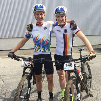 Die von iQ athletik trainierten Fahrer Till Drobisch und Marcel Lehrian beim UCI MTB Weltcup in Darmstadt