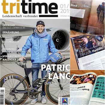 Jubiläumsausgabe der tritime mit dem Ironman-Weltmeister Patrick Lange auf dem Cover und drei Artikel der iQ athletik Trainings- und Ernährungsexperten