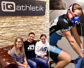 Dr. Katrin Stücher und Andreas Wagner von iQ athletik mit der Triathletin Natascha Schmitt