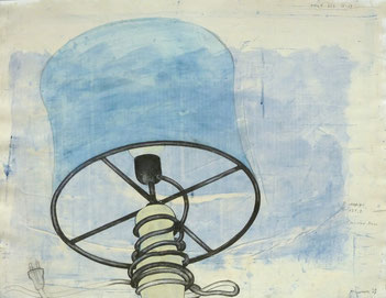 """Stillleben, ordinär"", 2007, Bleistift, Tusche,Aquarell auf Bütten, 50,5 x 66 cm"