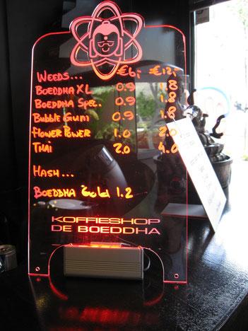 Menu Coffeeshop De Bouddha Delft