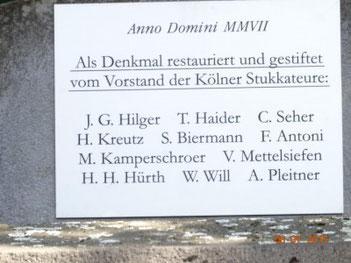 Historie der Stele an der Hinterseite der Stele zur Aachener Straße befestigt