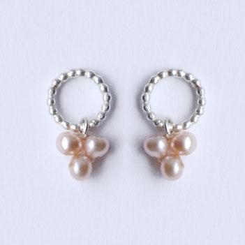 roze parel oorbellen, gehaakte parelketting, handgemaakte sieraden