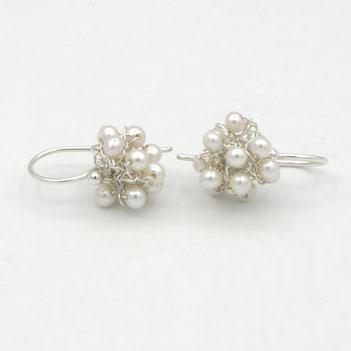 roze parel oorbellen met topaas, handgemaakte sieraden