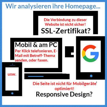 Bild: Icon Mobilgeräte; Wir analysieren ihre Firmenhomepage