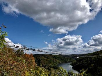 Die Hängeseilbrücke an der Rappbodetalsperre