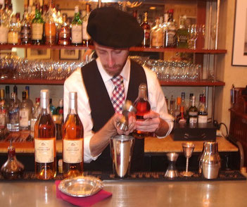 La Garonne Cocktail: La Garonne: Du Peyrat Organic Cognac, Normandin-Mercier Pineau des Charentes Blanc, ginger, Angostura bitters Cocktail