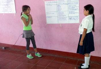 Schülerinnen präsentieren im Workshop die Ergebnisse ihrer Gruppenarbeit. Foto: MIRIAM Nicaragua