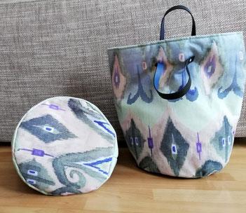 Utensilo Ginko, altweißer Canvas mit blaugrünem Ginko und Griffen aus Echtleder,  optimal für Diele oder Wohnzimmer zur Aufbewahrung