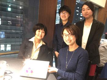 11/27@シェンロン東京  吉森特任助教 ?歳の誕生日おめでとうございます。呉さん、立石さん卒業研究お疲れさまでした。