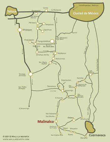Mapa como llegar a Malinalco
