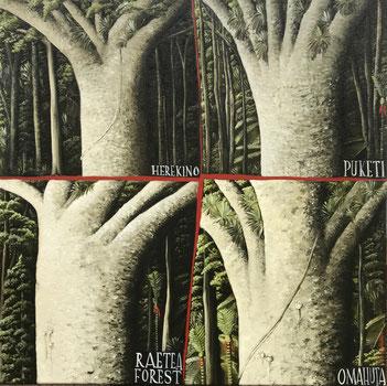 'Four northern Kauri', Oil on canvas, 2018. 50 x50cm