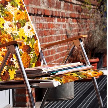 Presseauswahl, Magazin lesen in der Sonne, STUDIOLAUBE in der Zeitung, Gartenstuhl, Gartenprodukte, Blumen