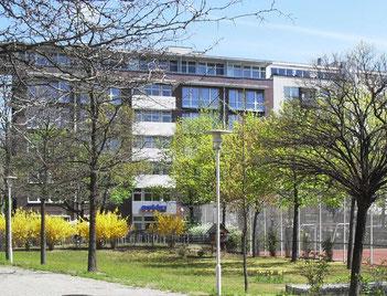 Das Gelände zwischen Sportplatz und Schulgebäude im März 2016...
