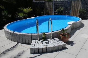 Gartengestaltung, Gärter, Pool, Romanshorn, Naturstein
