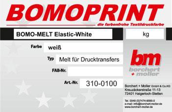 Transferdruck Farbsystem, Bomo-Melt Elastic White