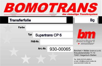 Transferdruck Farbsystem, Transferfolie, Supertrans CP-6 Transparent