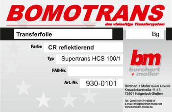 Transferdruck Farbsystem, Transferfolie, Supertrans HCS100/1