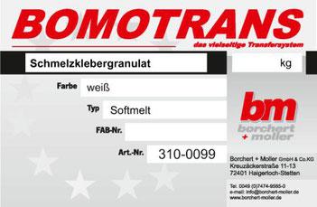 Transferdruck Farbsystem, Schmelzklebergranulat, Softmelt