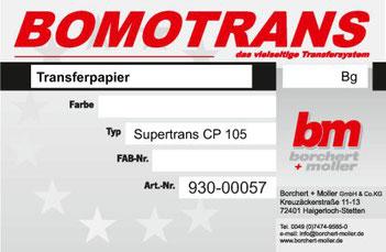 Transferdruck Farbsystem, Transferpapier, Supertrans-Papier CP 105