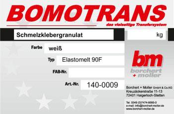 Transferdruck Farbsystem, Schmelzklebergranulat, Elastomelt 90 F