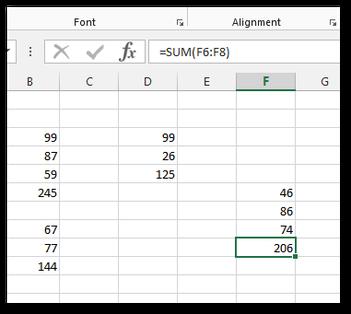 Excel sum