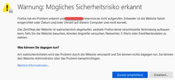 Bild: Eine von Firexox blockierte Homepage mit hohem Sicherheitsrisiko