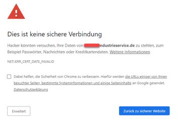 Bild: Eine von CHROME blockierte Homepage mit hohem Sicherheitsrisiko