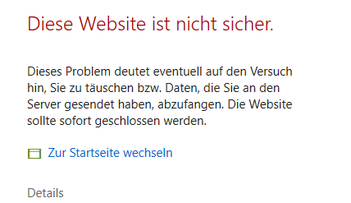 Bild: Eine von Edge blockierte Homepage mit hohem Sicherheitsrisiko