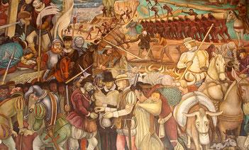 Llegada de Hernán Cortés a Veracruz. Pintura de Diego Rivera.
