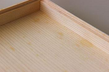 シミができた白木の重箱例
