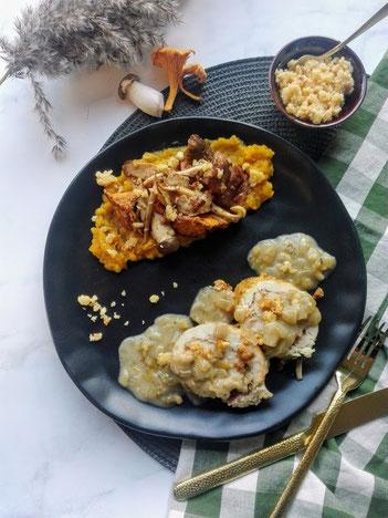 Kiprollade met olijvenpesto, butternutcrème, witlofroomsaus, gebakken champignonmix en hazelnootcrumble